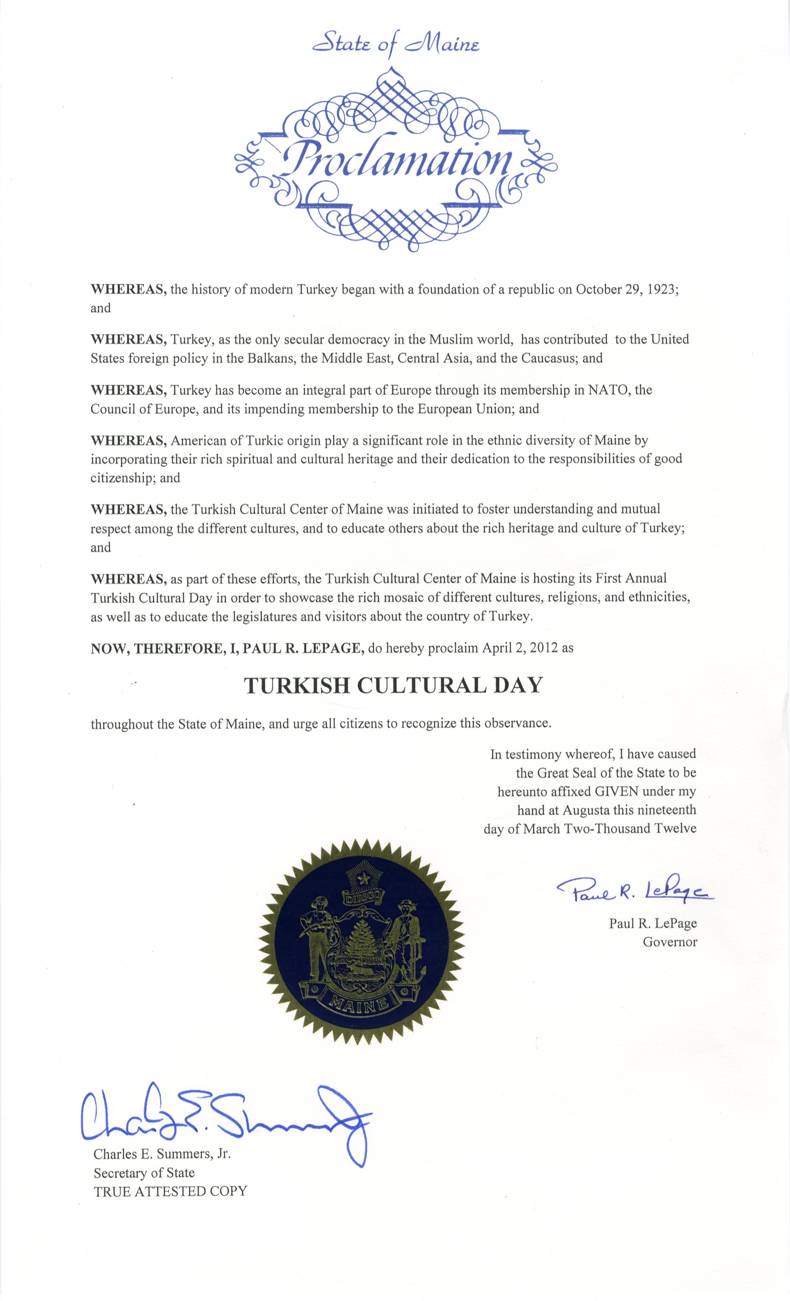 Proclamation by Governor Paul LePage - Turkish Cultural Day - April 2, 2012